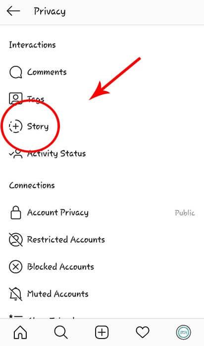 تنظیمات story اینستاگرام