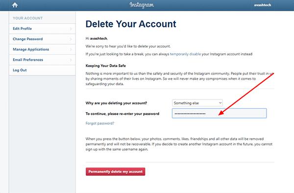 پاک کردن دائمی اینستاگرام instagram password