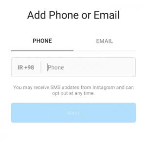 انتخاب شماره تلفن یا ایمیل برای لاگین کردن