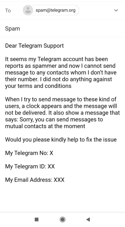 ایمیل رفع ریپورت تلگرام